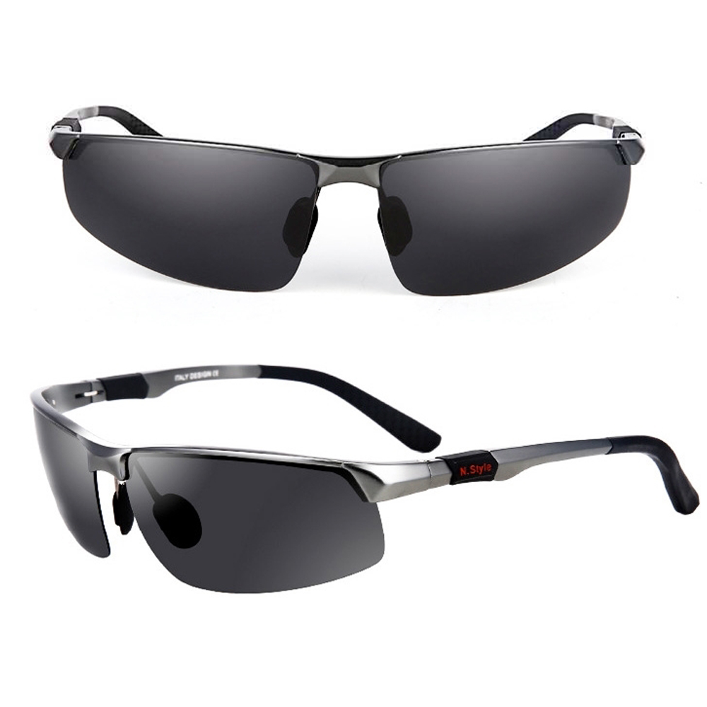 Sports Aluminum Magnesium Men's Polarized Sunglasses Pilot Driving Glasses - Grey