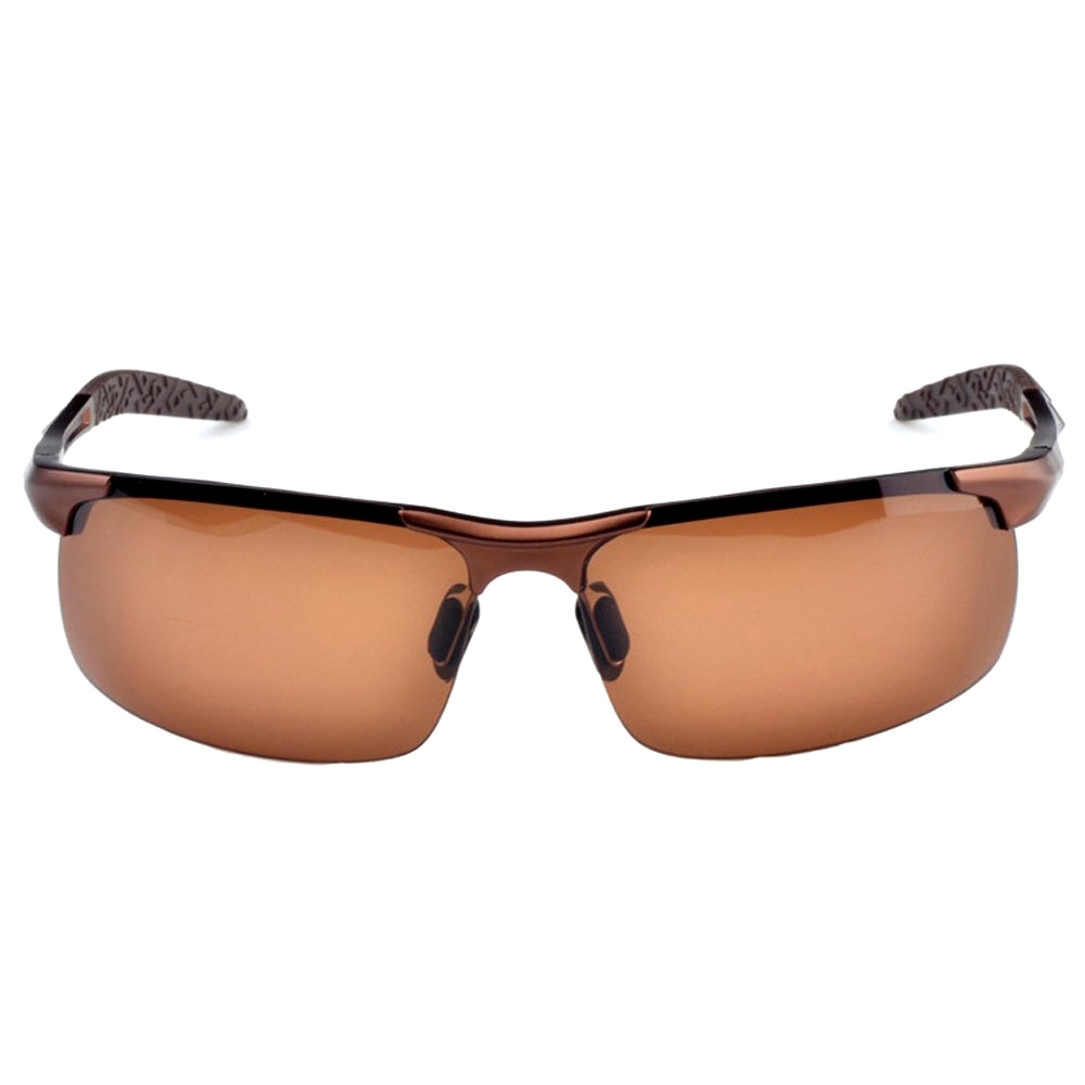 Sports Aluminum Magnesium Men's Polarized Sunglasses Pilot Driving Glasses - Brown