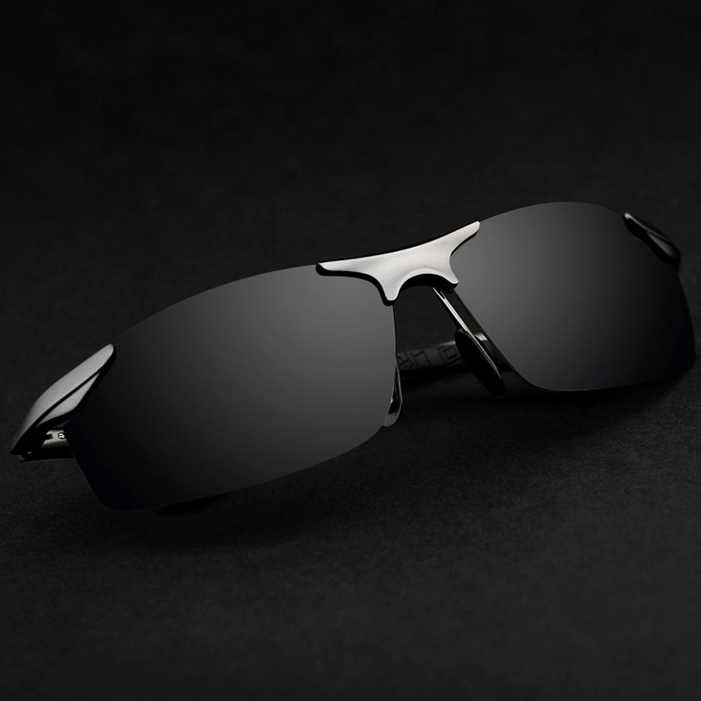 Aluminum Polarized Sunglasses Men's Sports Sun Glasses Driving Mirror Goggle - Grey