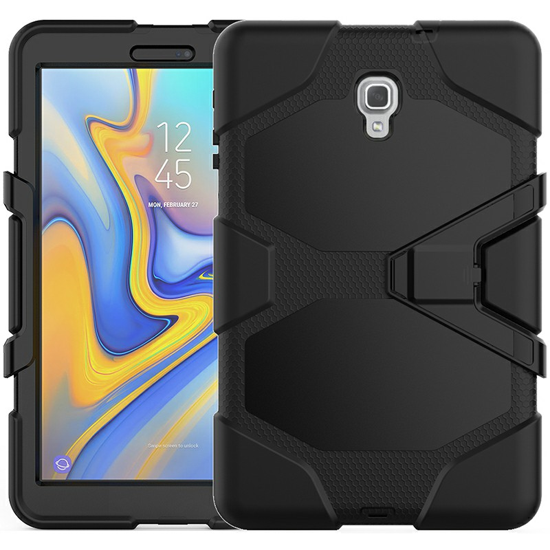 Heavy Duty Hybrid Silicone Bumper PC Full Cover Protective Case for Samsung Galaxy Tab A 10.5 Inch - Black
