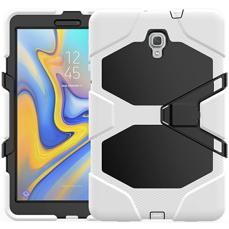Heavy Duty Hybrid Silicone Bumper PC Full Cover Protective Case for Samsung Galaxy Tab A 10.5 Inch - White