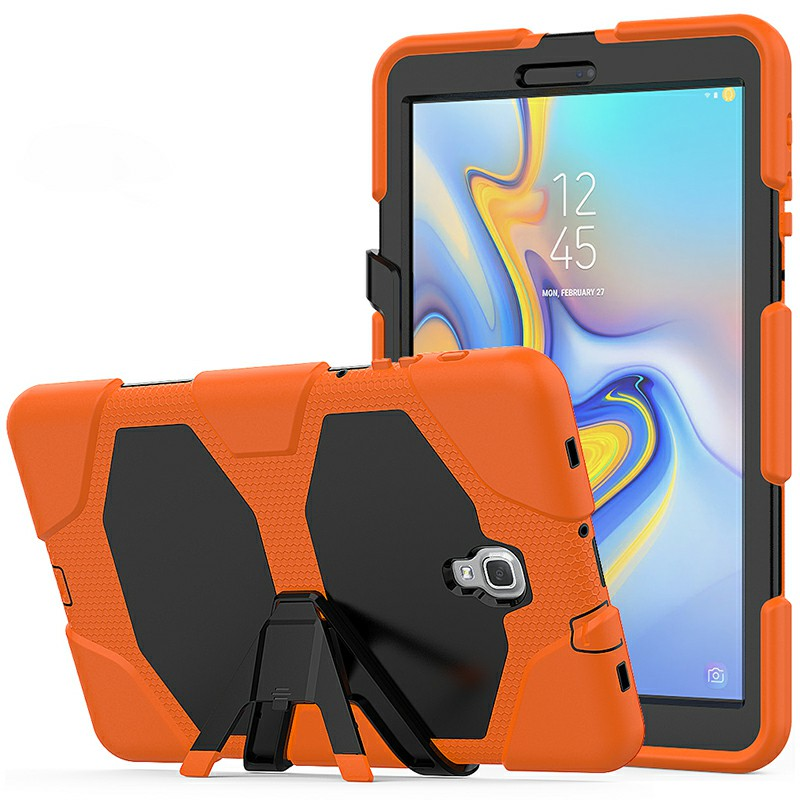 Heavy Duty Hybrid Silicone Bumper PC Full Cover Protective Case for Samsung Galaxy Tab A 10.5 Inch - Orange