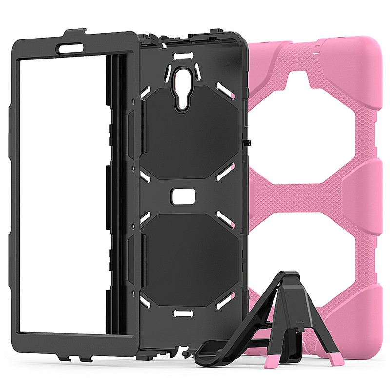 Heavy Duty Hybrid Silicone Bumper PC Full Cover Protective Case for Samsung Galaxy Tab A 10.5 Inch - Pink