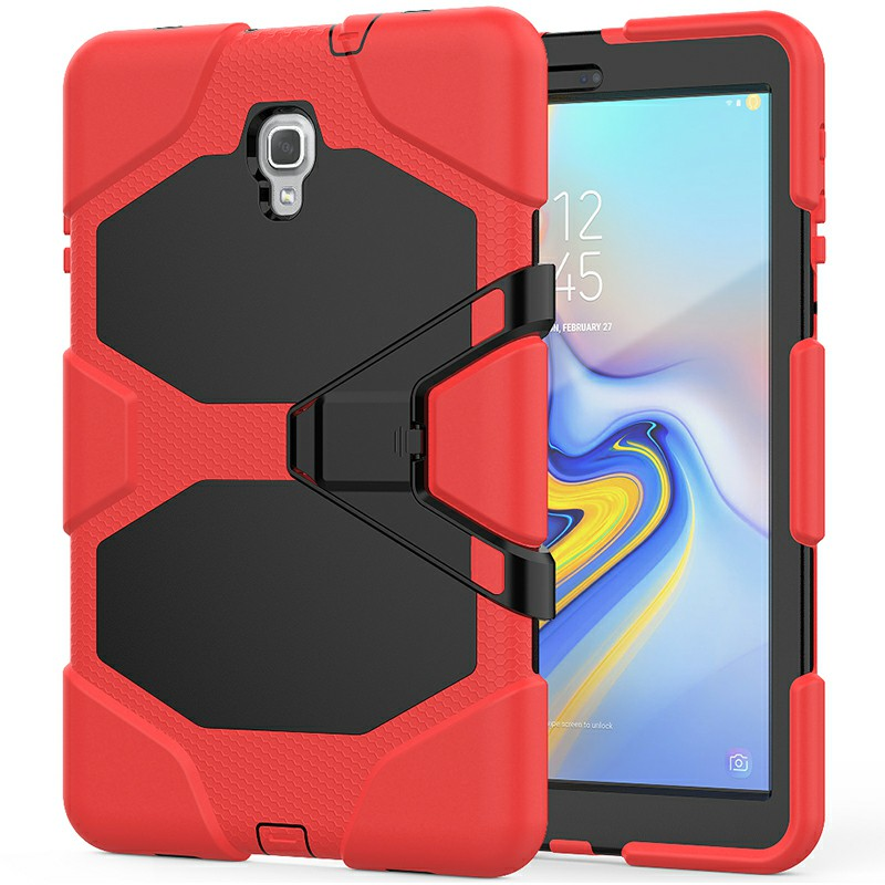 Heavy Duty Hybrid Silicone Bumper PC Full Cover Protective Case for Samsung Galaxy Tab A 10.5 Inch - Red