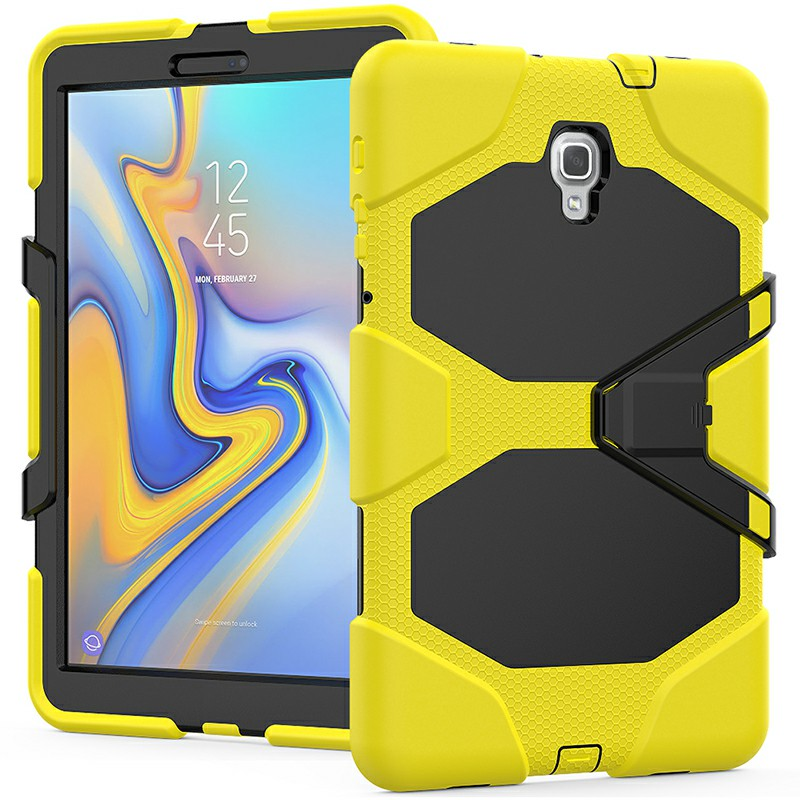 Heavy Duty Hybrid Silicone Bumper PC Full Cover Protective Case for Samsung Galaxy Tab A 10.5 Inch - Yellow