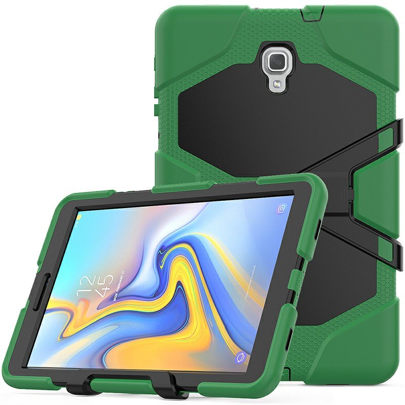 Heavy Duty Hybrid Silicone Bumper PC Full Cover Protective Case for Samsung Galaxy Tab A 10.5 Inch - Army Green