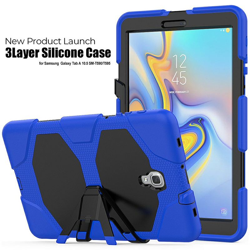 Heavy Duty Hybrid Silicone Bumper PC Full Cover Protective Case for Samsung Galaxy Tab A 10.5 Inch - Blue