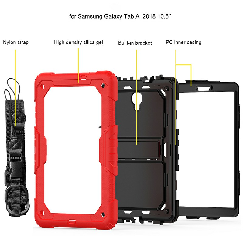 Heavy Duty Silicone Bumper PC Protective Case with Lanyard for Samsung Galaxy Tab A 10.5 Inch - Red