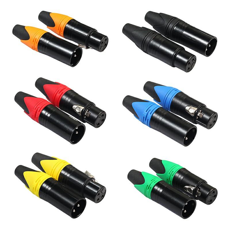 1 Pair XLR Adapter 3 Pin Male Plug Female Jack Microphone MIC Audio Connector Adaptor - Orange