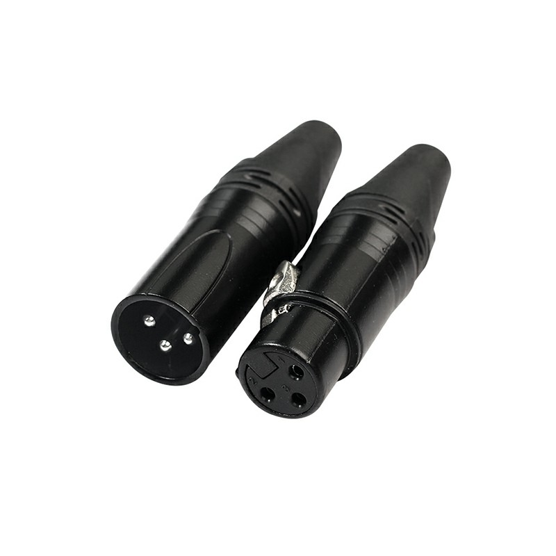 1 Pair XLR Adapter 3 Pin Male Plug Female Jack Microphone MIC Audio Connector Adaptor - Black