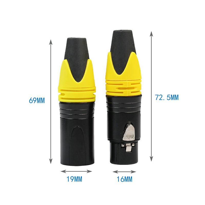 1 Pair XLR Adapter 3 Pin Male Plug Female Jack Microphone MIC Audio Connector Adaptor - Yellow