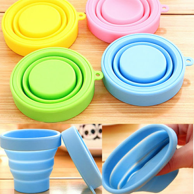 Outdoor Collapsible Retractable Silicone Cup Mouth Washing Cup for Travel - Pink