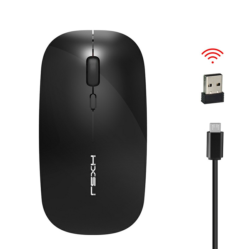 M60 2.4GHz Wireless 4 Keys 1600 DPI Adjustable Chargeable Optical Vertical Mouse - Black