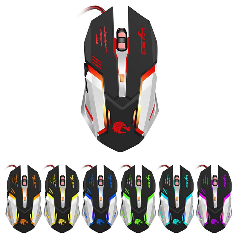S100 Professional Gaming Mouse with 7 Bright Colors LED Backlit 5500 dpi Optical Wired Gaming Mouse