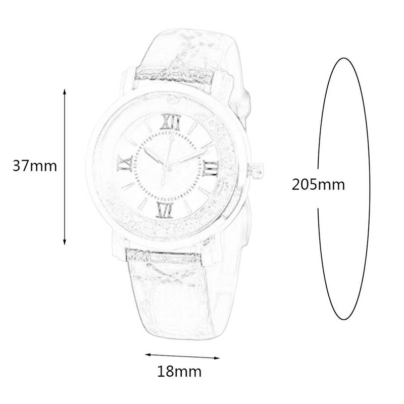 Women Fashion Watch Thin Leather Strap Rhinestone Decoration Dial Girl Watch - Pink