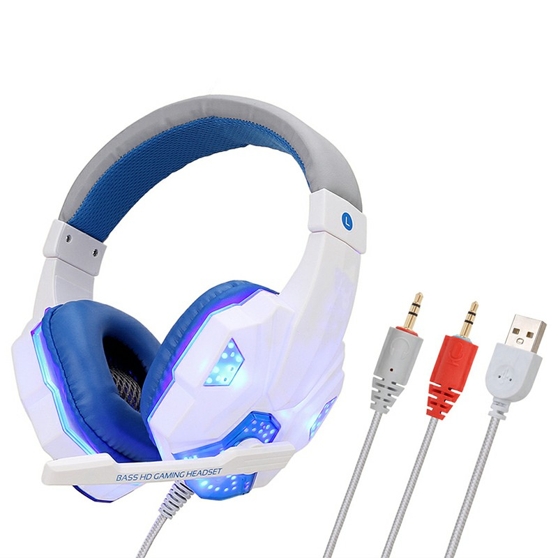 3.5mm Stereo Sound Headset Over Ear Microphone Gaming Earmuff Headset Headphones - White