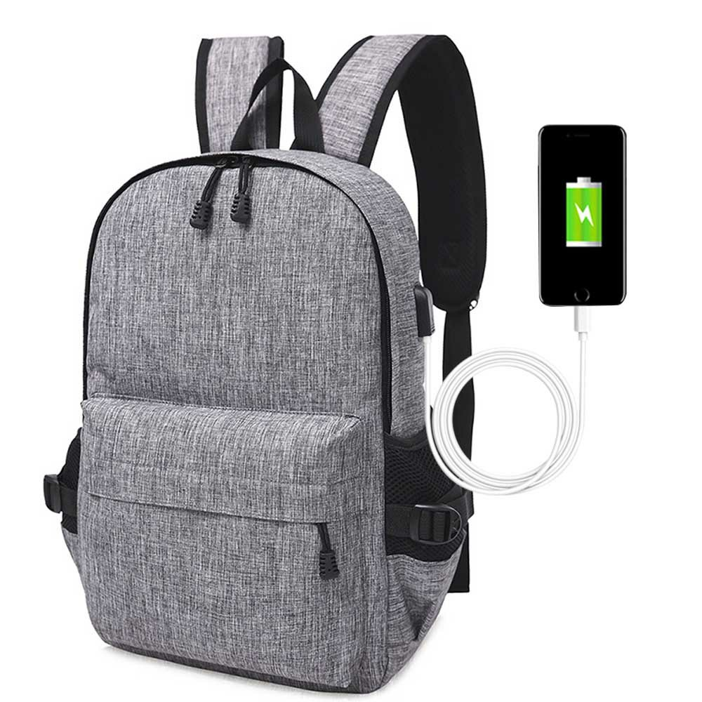 Unisex Anti-Theft Laptop Backpack Travel Business School Bag Rucksack with USB Port - Grey