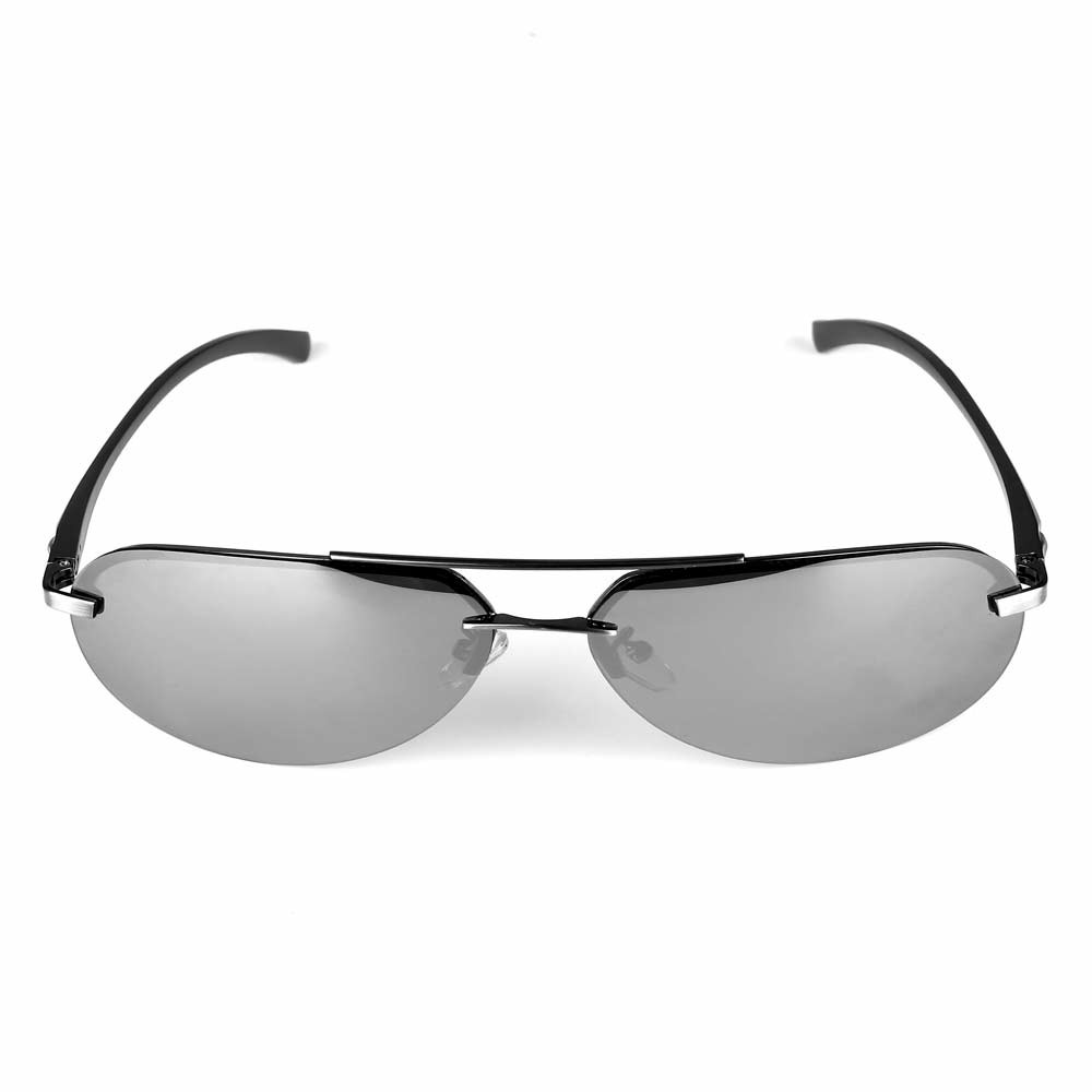 Aluminum Frame Polarized Sunglasses Mens Driving Glasses Outdoor Sports Goggles Eyewear - Silver