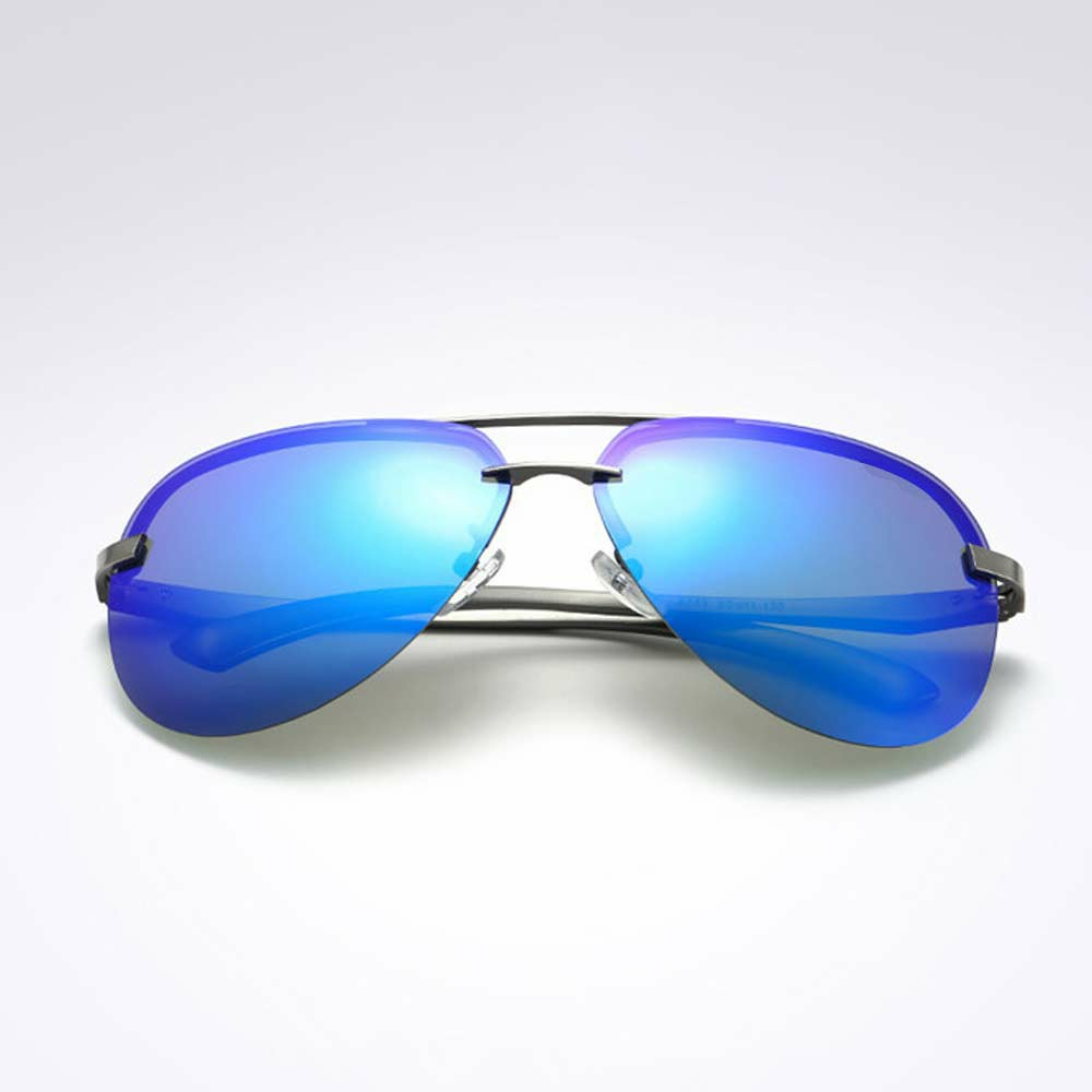 Aluminum Frame Polarized Sunglasses Mens Driving Glasses Outdoor Sports Goggles Eyewear - Deep Blue