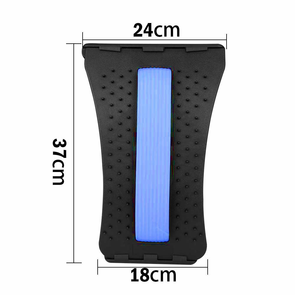Magic Back Support Stretcher Lower Relief Lumbar Pain Back Massager Posture Corrector - Black + Blue