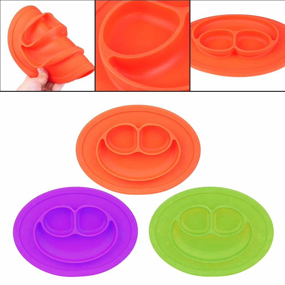 Baby Kids Child Suction Table Food Plate Cute Bowl Silicone Mat - Purple