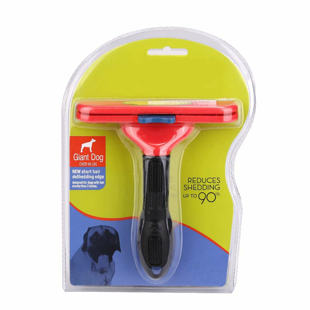 Pet Fur Deshedding Tool Moulting Grooming Brush Comb for Short and Long Hair Dogs - XL/Red