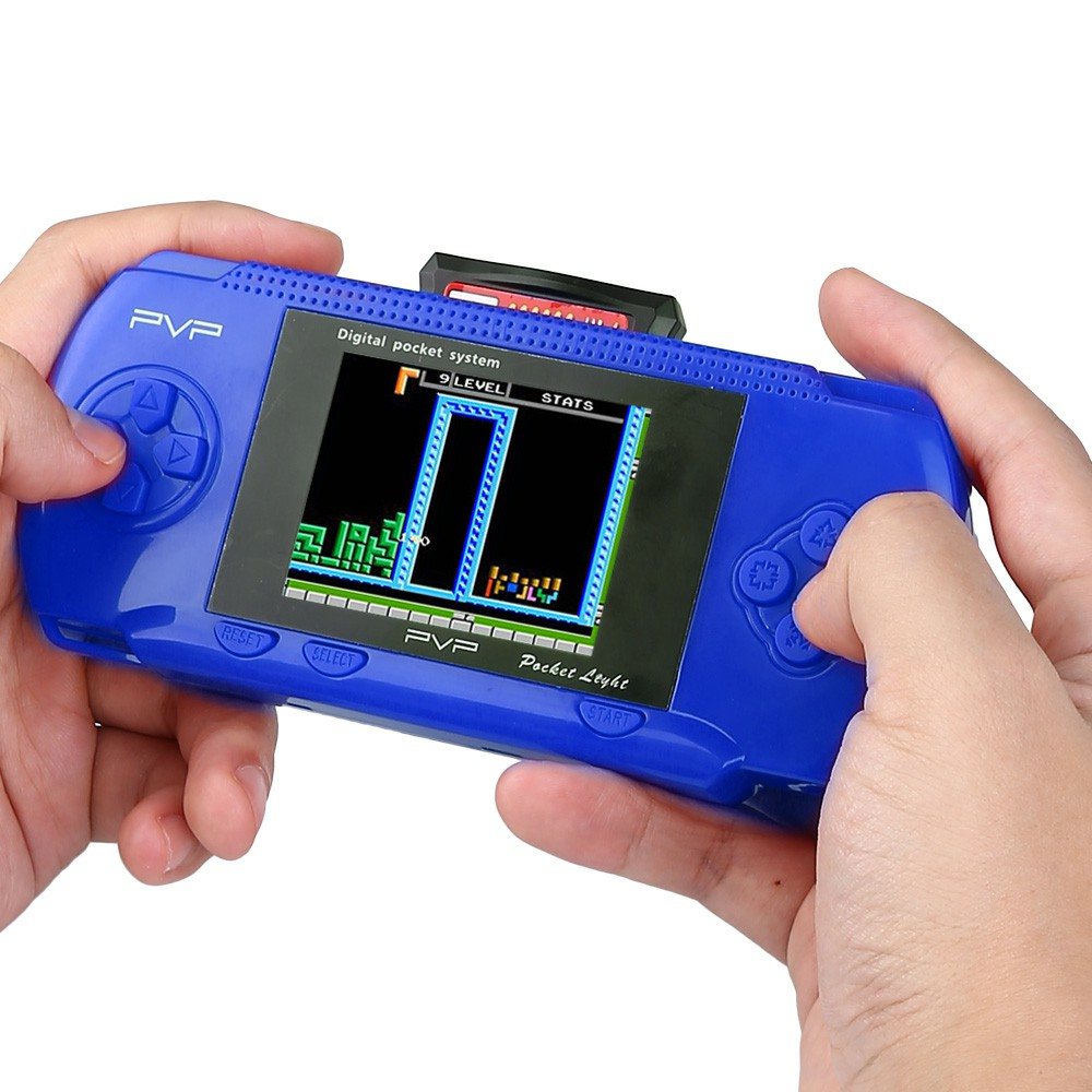 8 Bit 2.6 inch Handheld Portable PXP PVP 76 Games Console Retro Megadrive DS Video Game - Blue