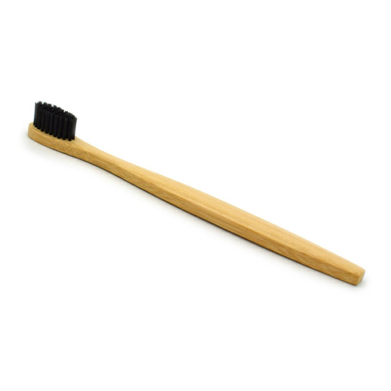 Eco Friendly Bamboo Nylon Fiber Soft Hair Bamboo Toothbrush Charcoal for Aldult Oral Care - Black
