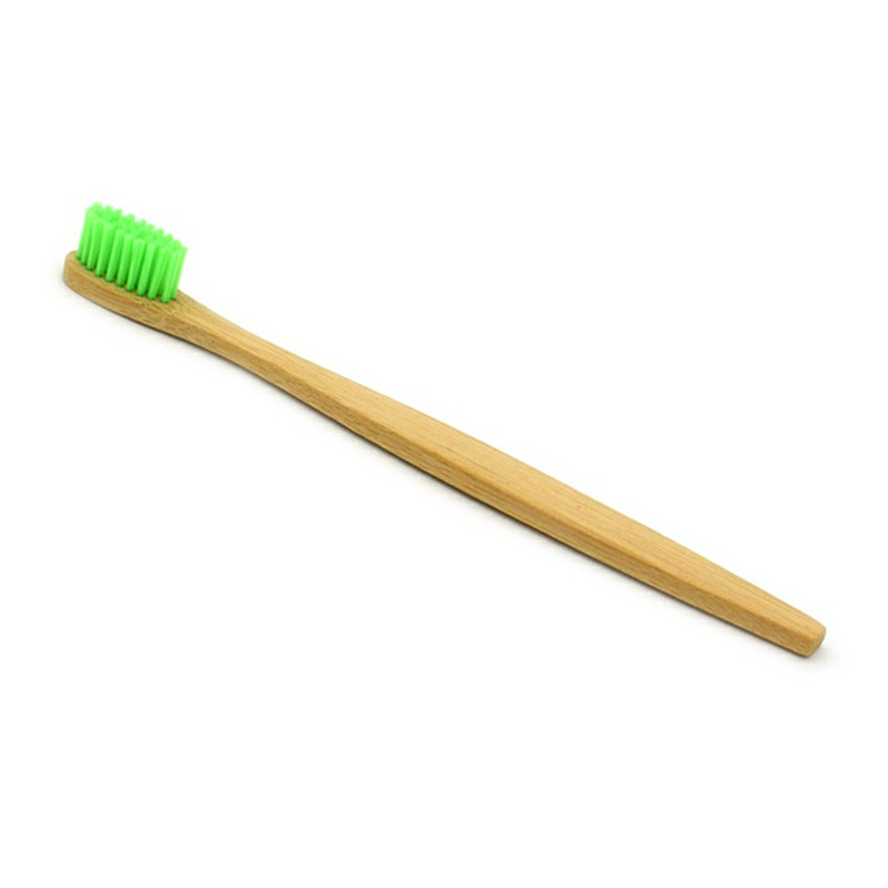 Eco Friendly Bamboo Nylon Fiber Soft Hair Bamboo Toothbrush Charcoal for Aldult Oral Care - Green
