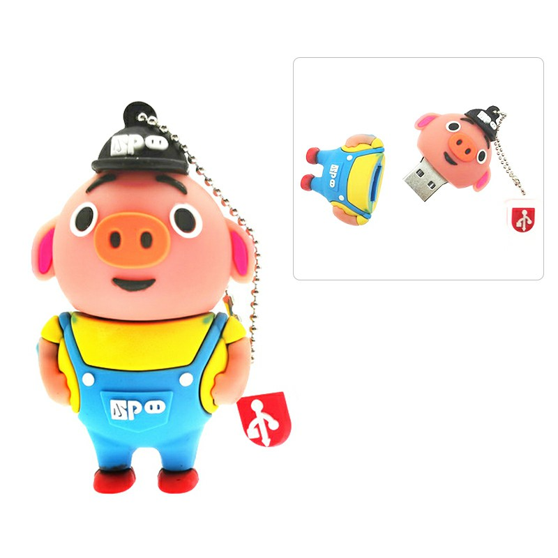 Cute Yellow Cartoon Pig USB 2.0 Flash Drive Pen Drive U Disk with Chain - 64GB