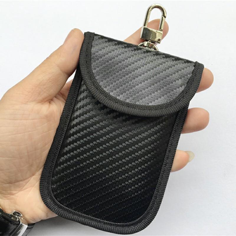 Carbon Fiber Car Remote Key Signal Blocker Case Fob Pouch Faraday Keyless RFID Shielding Pouch with Key Ring