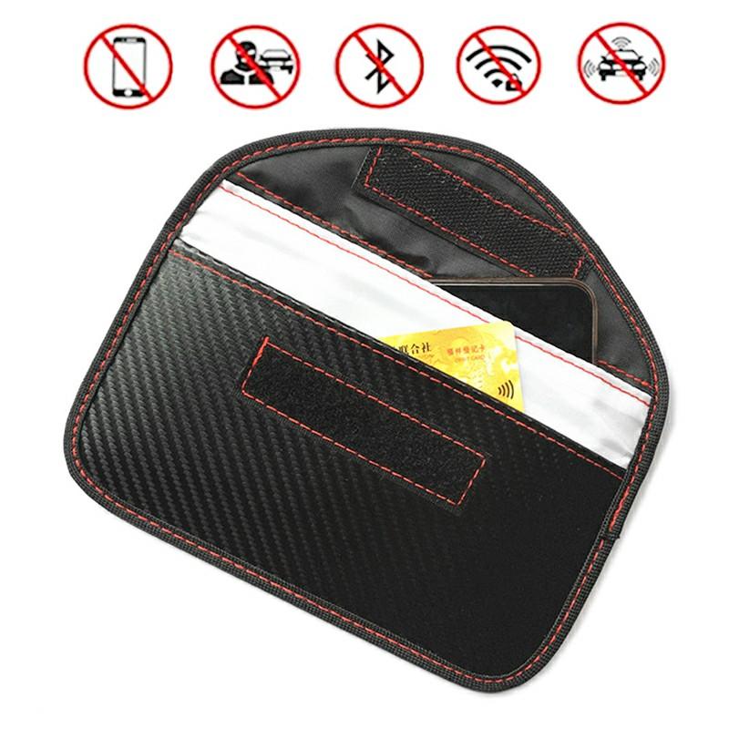 Carbon Fiber Signal Blocker Case Fob Pouch Faraday RFID Blocking Pouch Shielding Bag for Cellphone Car Remote
