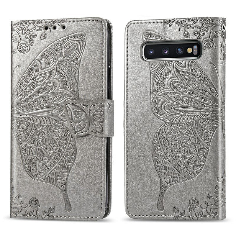 Flower Butterfly Embossed Leather Case PU Leather Flip Stand Wallet Card Case for Samsung Galaxy S10 Plus - Grey