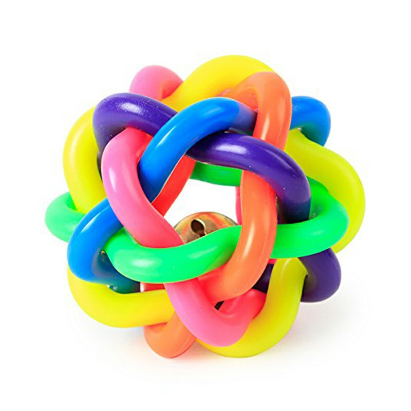 Colorful Braided Rubber EVA Round Ball Braided Ball with Bell Pet Dog Chewing Throwing Toy