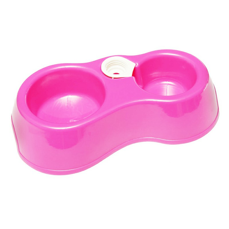 Home Use Cat and Dog Feeding Drinking Bowl Pet Double Bowl with Automatic Drinking Function - Hot Pink