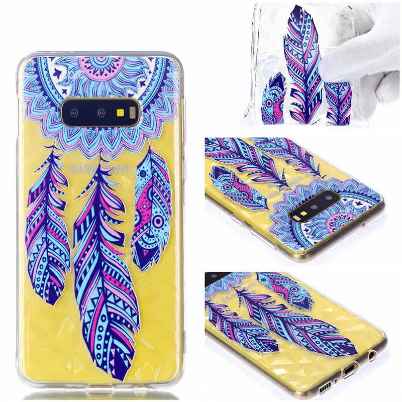 TPU Soft Case Diamond Pattern Embossed Phone Back Case for Samsung Galaxy S10e - Wind Chimes