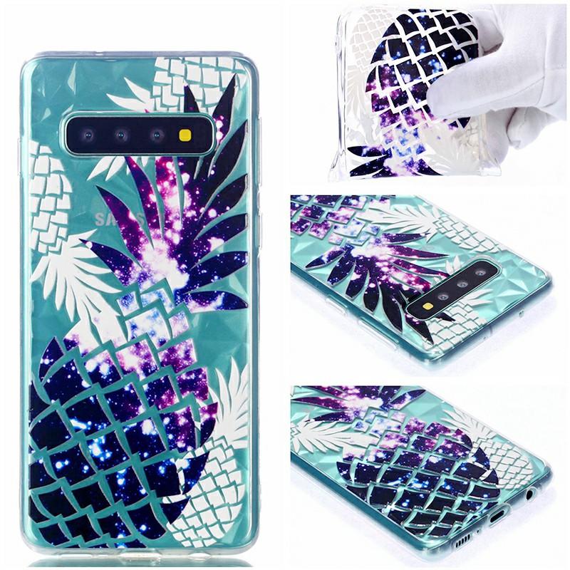Diamond Pattern Embossed TPU Soft Case for Samsung Galaxy S10 Plus - Pineapple