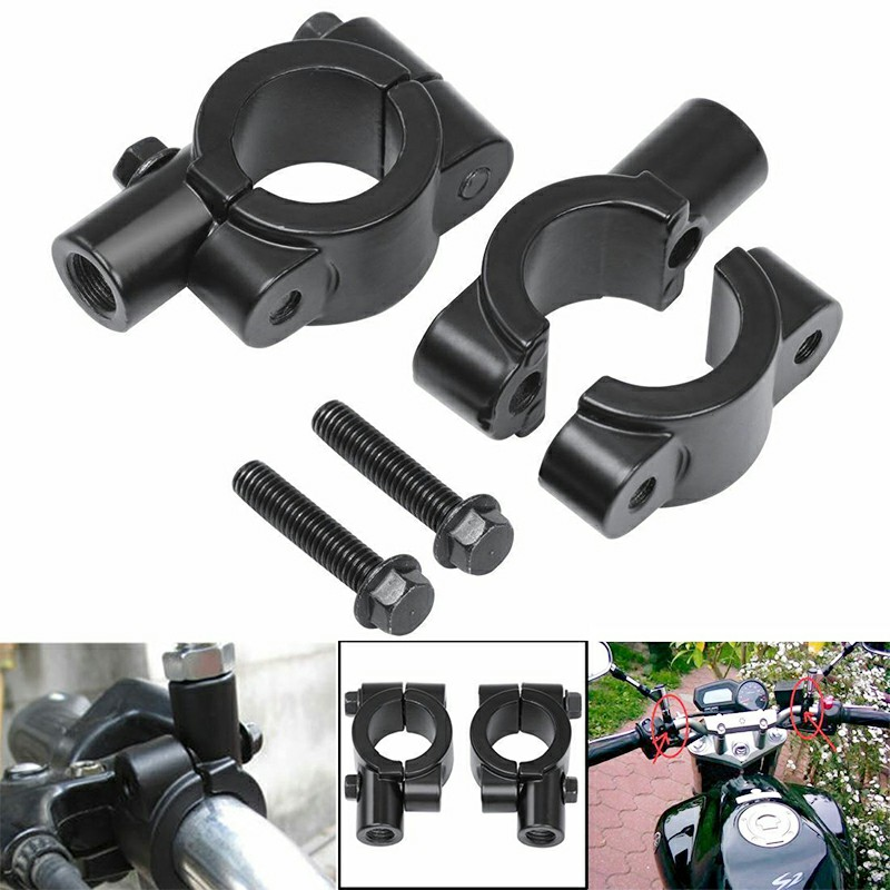2 pcs 7-8 inch Motorcycle Bicycle Handlebar Rear View Mirror Adaptor Clamp Mount Brackets 10mm