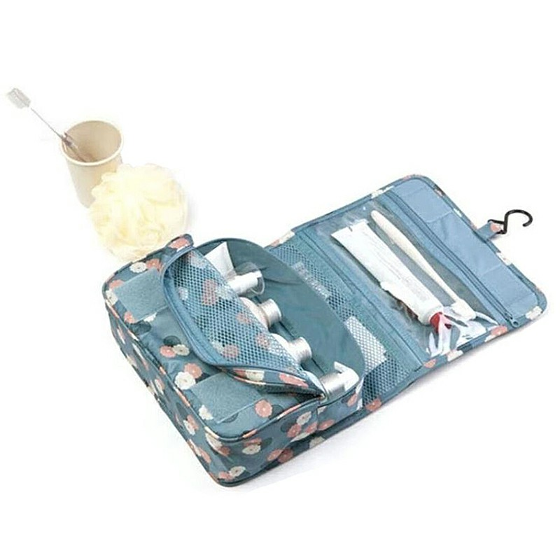 Ladies Wash Bag Hanging Toiletry Cosmetic Travel MakeUp Foldable Organizer Bag - Blue