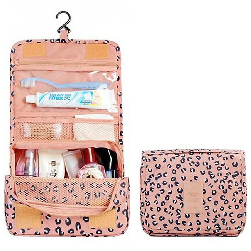 Ladies Wash Bag Hanging Toiletry Cosmetic Travel MakeUp Foldable Organizer Bag - Peach
