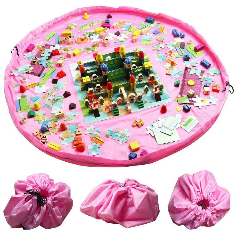 100cm Portable Foldable Kids Play Mat Toys Storage Bag Lego Organizer Rug Box Drawstring Bag - Pink