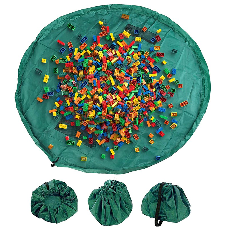 150cm Portable Foldable Kids Play Mat Toys Storage Bag Lego Organizer Rug Box Drawstring Bag - Green