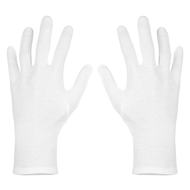 12 Pairs Washable Reusable White Cotton Gloves Cloth Serving Gloves for Men and Women - L