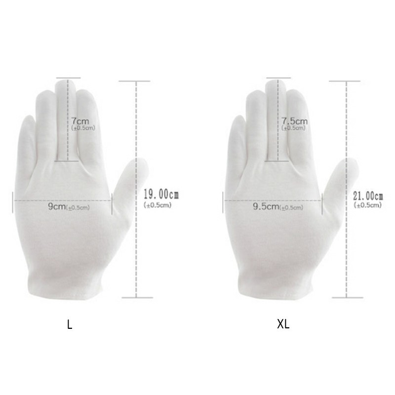 12 Pairs Washable Reusable White Cotton Gloves Cloth Serving Gloves for Men and Women - XL