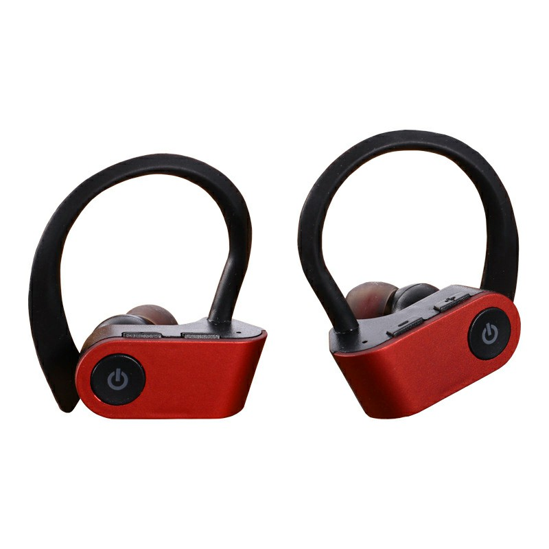 TWS-W2 Bluetooth 5.0 Wireless Earphone Ear-hook Stereo Headset Hifi Sports Headphones for iPhone Android Phones - Red
