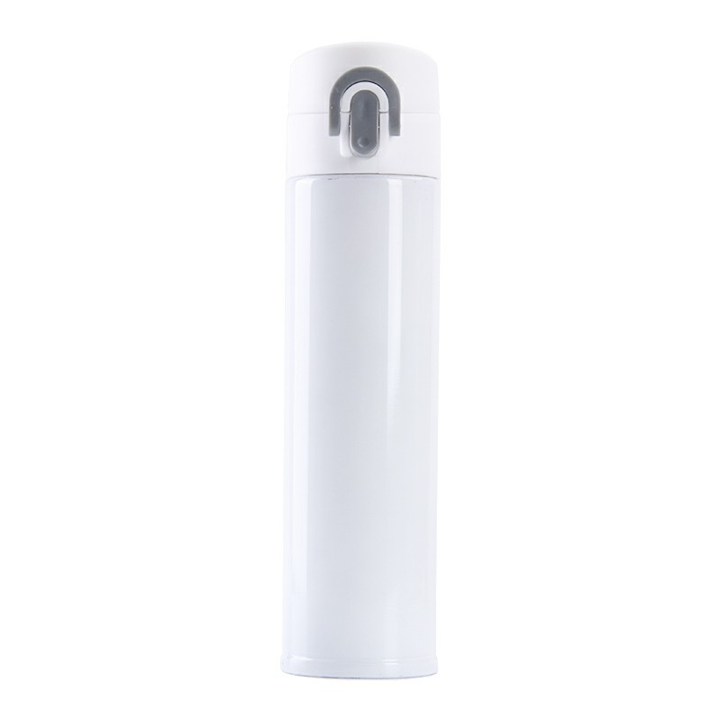 400ML Travel Bounce Switch Thermos Bottle Stainless Steel Vacuum Insulated Water Bottle - White