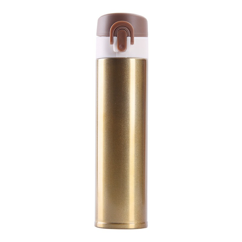 400ML Travel Bounce Switch Thermos Bottle Stainless Steel Vacuum Insulated Water Bottle - Gold