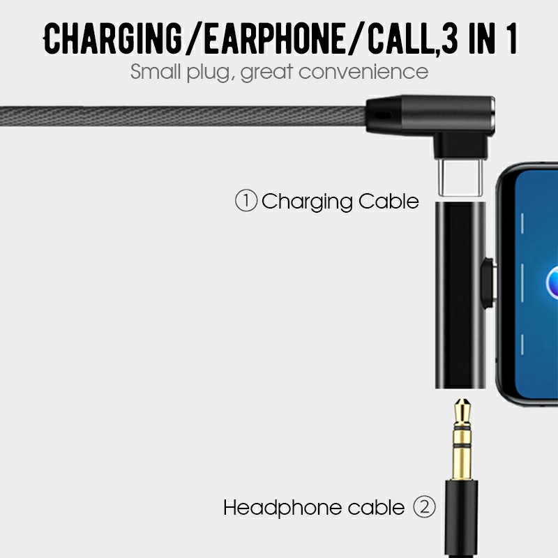USB Type C to 3.5mm Headphone Jack and Charging Dongle Adapter - Black