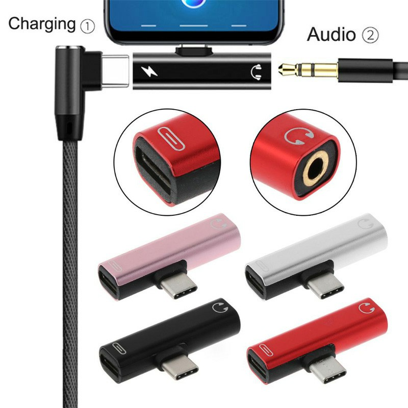 USB Type C to 3.5mm Headphone Jack and Charging Dongle Adapter - Silver