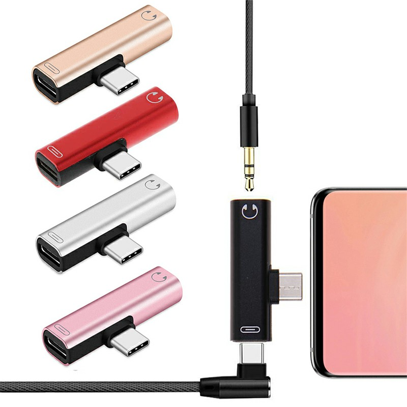 USB Type C to 3.5mm Headphone Jack and Charging Dongle Adapter - Rose Gold